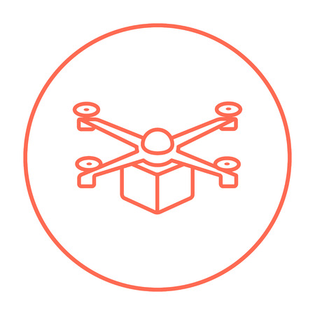 despatch: Drone delivering a package line icon for web, mobile and infographics. Vector red thin line icon in the circle isolated on white background.