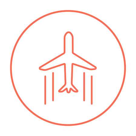 Cargo plane line icon for web, mobile and infographics. Vector red thin line icon in the circle isolated on white background.