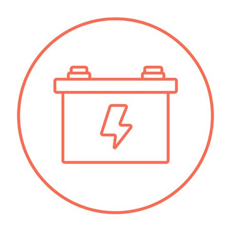 amperage: Car battery line icon for web, mobile and infographics. Vector red thin line icon in the circle isolated on white background. Illustration
