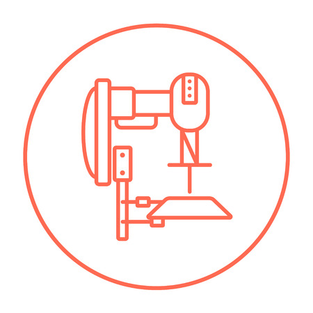automated: Industrial automated robot line icon for web, mobile and infographics. Vector red thin line icon in the circle isolated on white background. Illustration