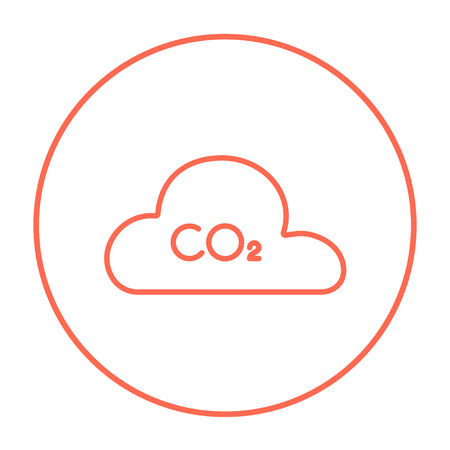 CO2 sign in cloud line icon for web, mobile and infographics. Vector red thin line icon in the circle isolated on white background.