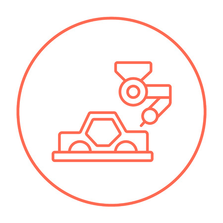 automated: Automated assembly line for cars line icon for web, mobile and infographics. Vector red thin line icon in the circle isolated on white background.