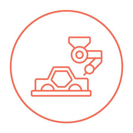 ligne d'assemblage automatique pour l'icône de ligne de voitures pour le web, le mobile et infographies. Vector icône rouge de ligne mince dans le cercle isolé sur fond blanc.