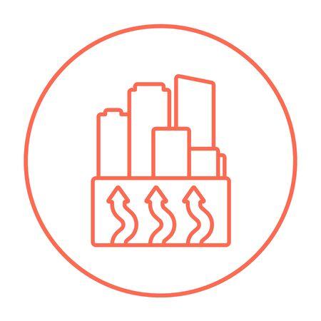Fabriksymbol für Web, Mobile und Infografiken. Vector rote dünne Linie Ikone im Kreis, der auf weißem Hintergrund lokalisiert wird. Standard-Bild - 53584241