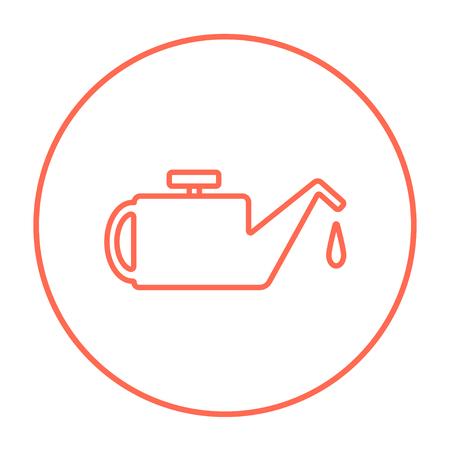 Web、モバイル、インフォ グラフィックの給油ライン アイコン。白い背景で隔離サークルのベクトル赤い細い線アイコン。