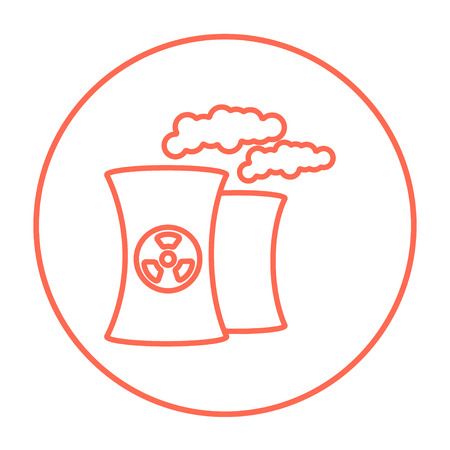 ecological damage: Nuclear power plant line icon for web, mobile and infographics. Vector red thin line icon in the circle isolated on white background.