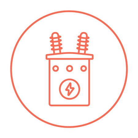 electric grid: High voltage transformer line icon for web, mobile and infographics. Vector red thin line icon in the circle isolated on white background. Illustration