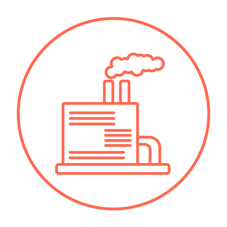 Refinery plant line icon for web, mobile and infographics. Vector red thin line icon in the circle isolated on white background.
