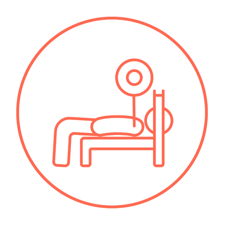 Man lying on bench and lifting barbell line icon for web, mobile and infographics. Vector red thin line icon in the circle isolated on white background.
