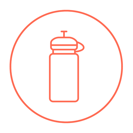 non alcoholic: Sport water bottle line icon for web, mobile and infographics. Vector red thin line icon in the circle isolated on white background. Illustration