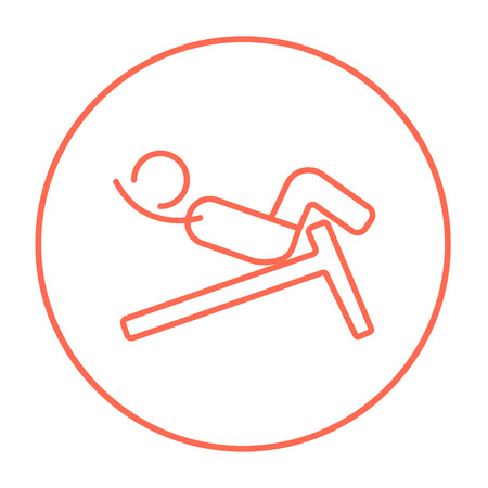Man doing crunches on incline bench line icon for web, mobile and infographics. Vector red thin line icon in the circle isolated on white background.