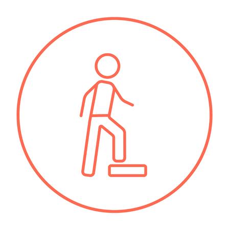 Homme faisant l'icône de la ligne d'exercices pour internet, mobile et infographie. Vector l'icône de ligne fine rouge dans le cercle isolé sur fond blanc. Banque d'images - 53584271
