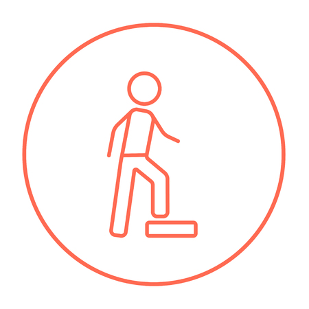 Man doing step exercise line icon for web, mobile and infographics. Vector red thin line icon in the circle isolated on white background.