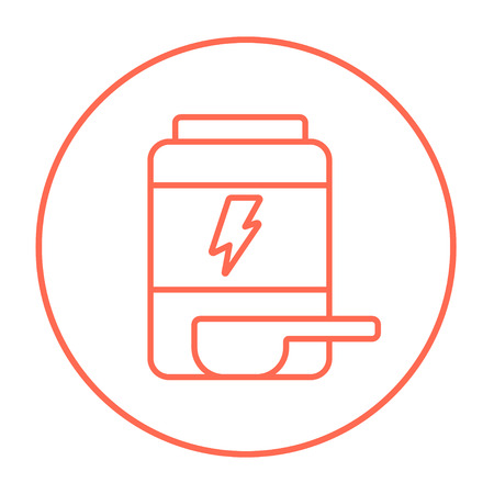 supplementation: Sport nutrition container line icon for web, mobile and infographics. Vector red thin line icon in the circle isolated on white background. Illustration