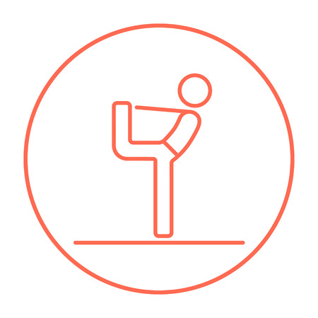 Man in yoga pose nataradzhasana line icon for web, mobile and infographics. Vector red thin line icon in the circle isolated on white background. Ilustração