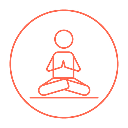 A man meditating in lotus pose line icon for web, mobile and infographics. Vector red thin line icon in the circle isolated on white background. Stock Illustratie