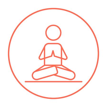 Un homme à méditer dans lotus pose icône de la ligne pour le Web, mobile et infographies. Vector icône rouge de ligne mince dans le cercle isolé sur fond blanc. Banque d'images - 53584301