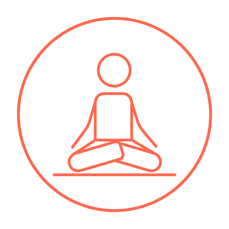 distension: A man meditating in lotus pose line icon for web, mobile and infographics. Vector red thin line icon in the circle isolated on white background. Illustration
