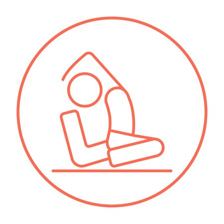 pada: Man sitting in asana eka pada radzhakapotasana line icon for web, mobile and infographics. Vector red thin line icon in the circle isolated on white background. Illustration