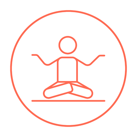 A man meditating in lotus pose line icon for web, mobile and infographics. Vector red thin line icon in the circle isolated on white background. Illustration