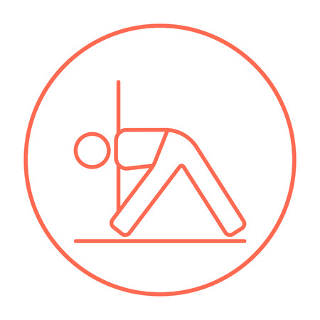 man meditating: A man meditating in triangle pose line icon for web, mobile and infographics. Vector red thin line icon in the circle isolated on white background.