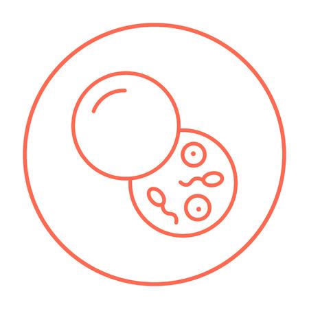 Donorsperma lijn pictogram voor web, mobiel en infographics. Vector rode dunne lijn pictogram in de cirkel op een witte achtergrond.