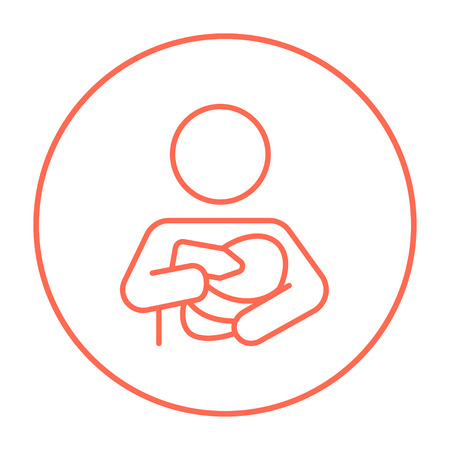 nursing bottle: Woman nursing the baby line icon for web, mobile and infographics. Vector red thin line icon in the circle isolated on white background.