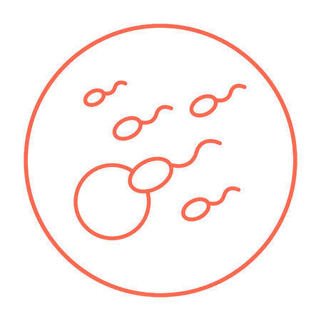 sex chromosomes: Fertilization line icon for web, mobile and infographics. Vector red thin line icon in the circle isolated on white background. Illustration