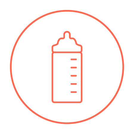 nursing bottle: Feeding bottle line icon for web, mobile and infographics. Vector red thin line icon in the circle isolated on white background. Illustration