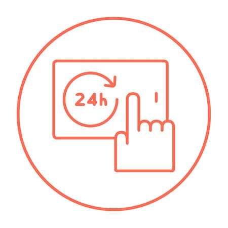 infographics touchscreen: Finger touching 24 hours service button on a touchscreen line icon for web, mobile and infographics. Vector red thin line icon in the circle isolated on white background.
