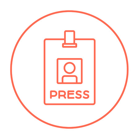 Press pass ID card line icon for web, mobile and infographics. Vector red thin line icon in the circle isolated on white background.