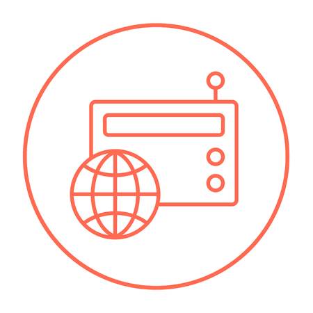 world receiver: Retro radio with globe line icon for web, mobile and infographics. Vector red thin line icon in the circle isolated on white background. Illustration