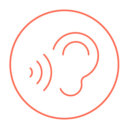 earing: Ear and sound waves line icon for web, mobile and infographics. Vector red thin line icon in the circle isolated on white background.