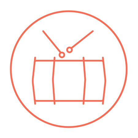 red drum: Drum with sticks line icon for web, mobile and infographics. Vector red thin line icon in the circle isolated on white background.