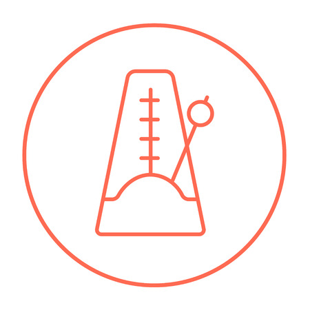 metronome: Metronome line icon for web, mobile and infographics. Vector red thin line icon in the circle isolated on white background.
