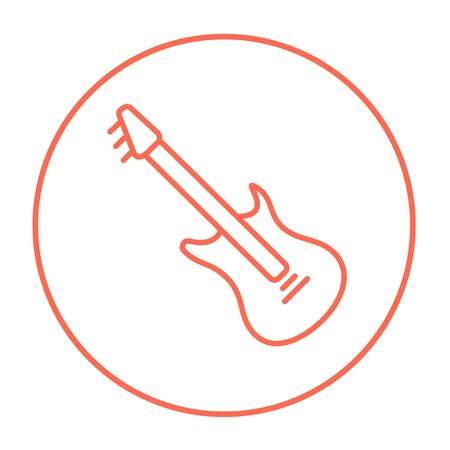 strum: Electric guitar line icon for web, mobile and infographics. Vector red thin line icon in the circle isolated on white background.