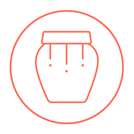 red drum: Drum instrument line icon for web, mobile and infographics. Vector red thin line icon in the circle isolated on white background.