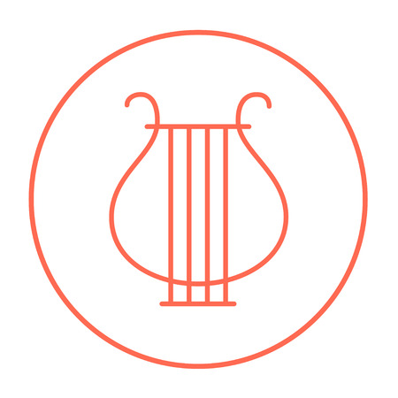 lyre: Lyre line icon for web, mobile and infographics. Vector red thin line icon in the circle isolated on white background.