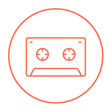 tape line: Cassette tape line icon for web, mobile and infographics. Vector red thin line icon in the circle isolated on white background.