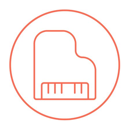 pianoforte: Piano line icon for web, mobile and infographics. Vector red thin line icon in the circle isolated on white background.