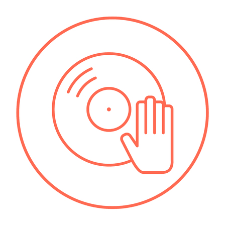 Disc with dj hand line icon for web, mobile and infographics. Vector red thin line icon in the circle isolated on white background. Illustration