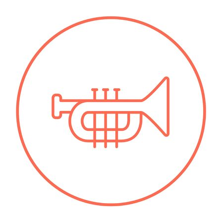 trumpet isolated: Trumpet line icon for web, mobile and infographics. Vector red thin line icon in the circle isolated on white background.
