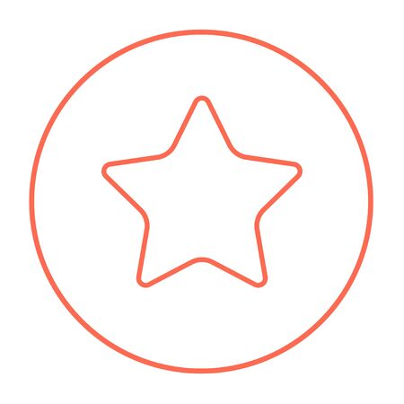 Rating star line icon for web, mobile and infographics. Vector red thin line icon in the circle isolated on white background.