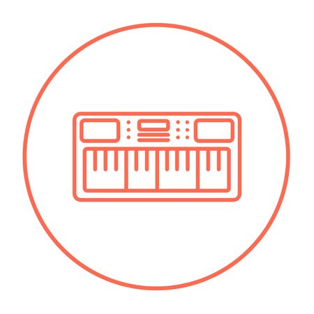 synthesizer: Synthesizer line icon for web, mobile and infographics. Vector red thin line icon in the circle isolated on white background.