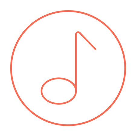 melodious: Music note line icon for web, mobile and infographics. Vector red thin line icon in the circle isolated on white background.