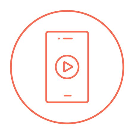 delta cell: Smartphone with play button on a screen line icon for web, mobile and infographics. Vector red thin line icon in the circle isolated on white background.