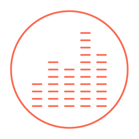 music player: Digital equalizer line icon for web, mobile and infographics. Vector red thin line icon in the circle isolated on white background. Illustration