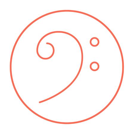 clave de fa: icono de la l�nea clave de Fa para web, m�vil y la infograf�a. Vector icono delgada l�nea roja en el c�rculo aislado en el fondo blanco.