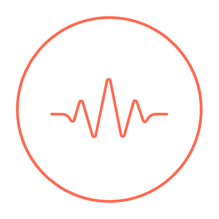 red sound: Sound wave line icon for web, mobile and infographics. Vector red thin line icon in the circle isolated on white background. Illustration