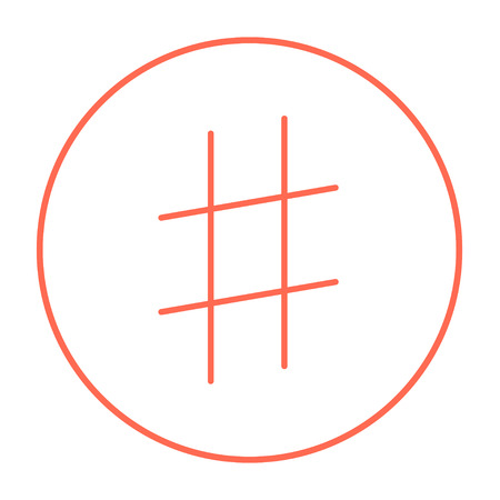 microblogging: Hashtag symbol line icon for web, mobile and infographics. Vector red thin line icon in the circle isolated on white background.